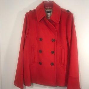 J CREW  Red orange Pea Coat 100% Wool Size TXL